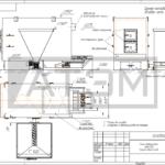 Чертеж общего вида котла на щепе КВм-2,0Д с базовой частью бункера